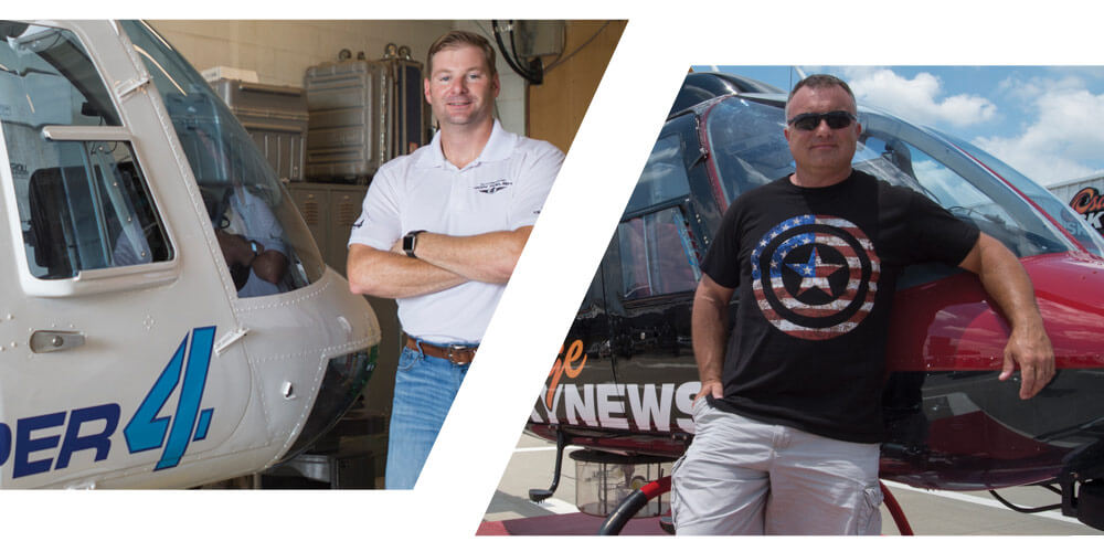 Left: CW3 Welsh with his KFOR News Channel 4 chopper. Right: CW4 Kavanagh with his KOTV New Channel 6 chopper.