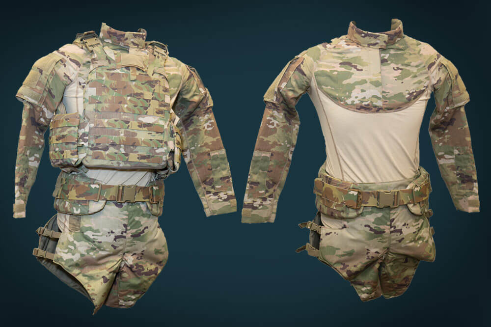 On Left: New TEP Vest with Reconfigured Pelvic Protection System. On Right: New Ballistic Combat Shirt with New Battle Belt
