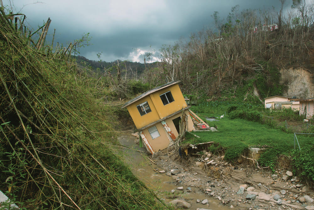 Rising water levels from Hurricane Maria destroyed this home in Jayuya, Puerto Rico, Oct. 9, 2017.