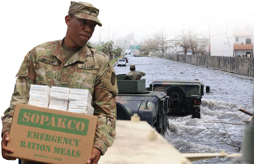 Left: 2LT Mark Sinanan, Signal Officer, Joint Force Headquarters, Virgin Islands Army National Guard carries a box of Meals-Ready-to-Eat and water for civilians at the St. Croix Educational Complex High School, one of four points of distribution. Right: Soldiers assigned to the Puerto Rico National Guard patrol one of the main highways of the San Juan metropolitan area that was hit by floods after Hurricane Maria.