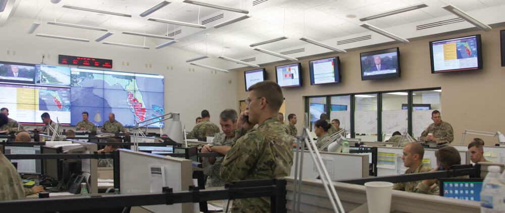Joint Operations Center at Camp Blanding, Fla.