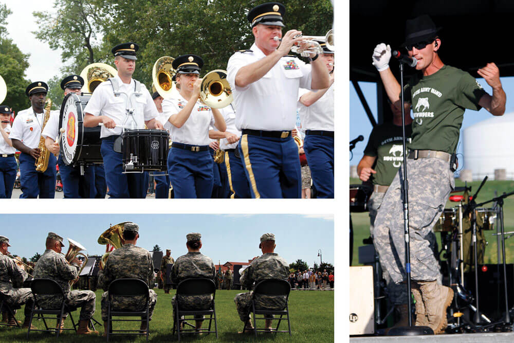 Top: The 34th Army Band Concert and Marching Band. Bottom: The 34th Army Band's brass ensemble. Right: The Sidewinders perform cover songs of Michael Jackson's greatest hits.