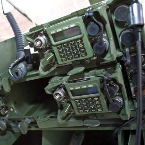 Single Channel Ground and Airborne Radio System (SINCGARS). Image shows two stacked units.