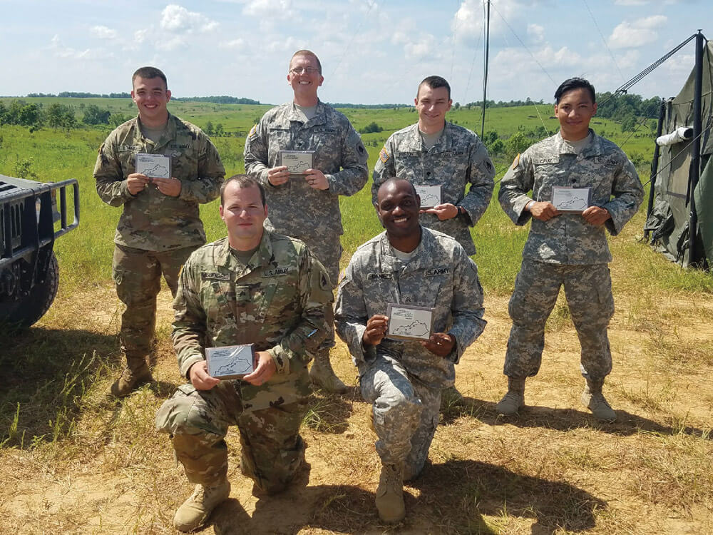 "Signal Soldiers of the 138th Field Artillery Brigade commemorate the ""Shot Heard Across the Bluegrass"" with plaques presented by CPT Stephen Young. 