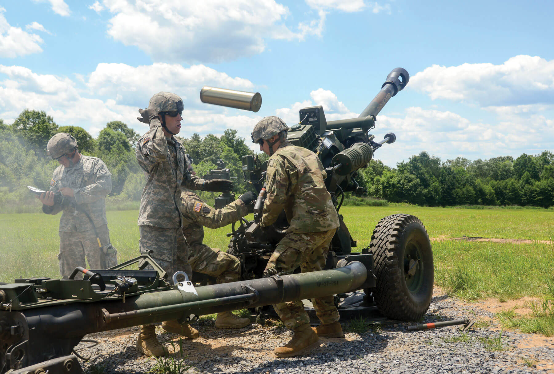 Instructors of the 166th Regional Training Institute located at Fort Indiantown Gap, the only live-fire, maneuver military training facility in Pennsylvania, offering more than 17,000 acres and 140 training areas and facilities, train National Guard Soldiers on an M119 Howitzer.