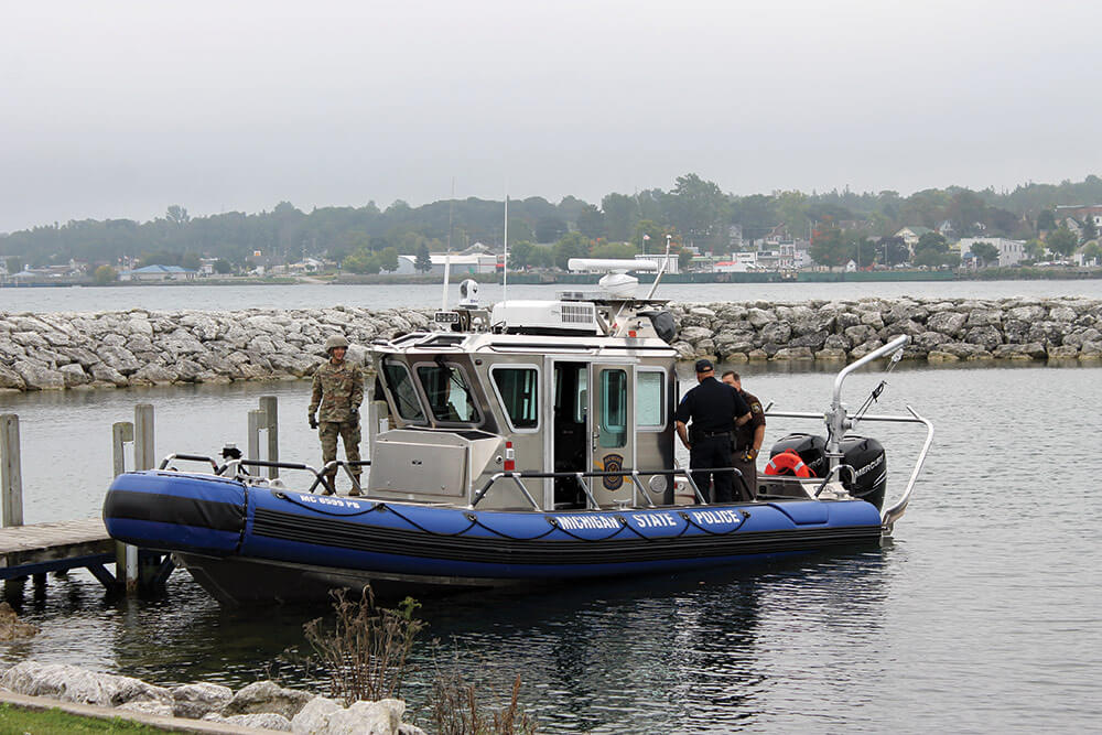 A Michigan State Police Marine Services Team SAFE boat provides security and support during Operation Shining Star 2017.