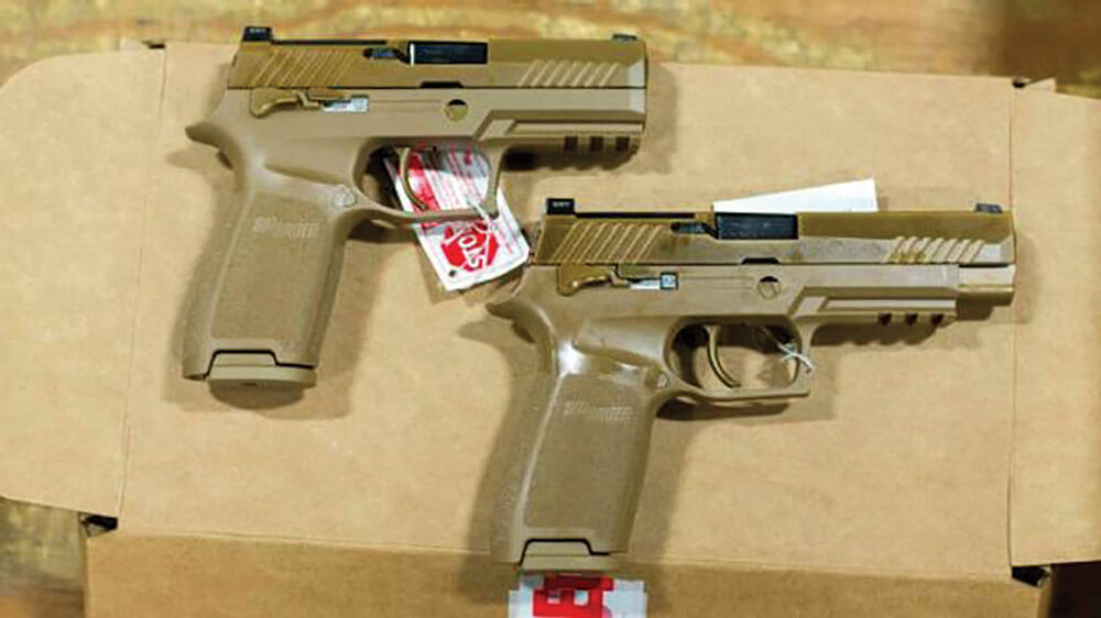 The Sig Sauer P320 is produced in both full-sized (M17) and compact (M18) models. U.S. Army photo courtesy 101st Airborne Division