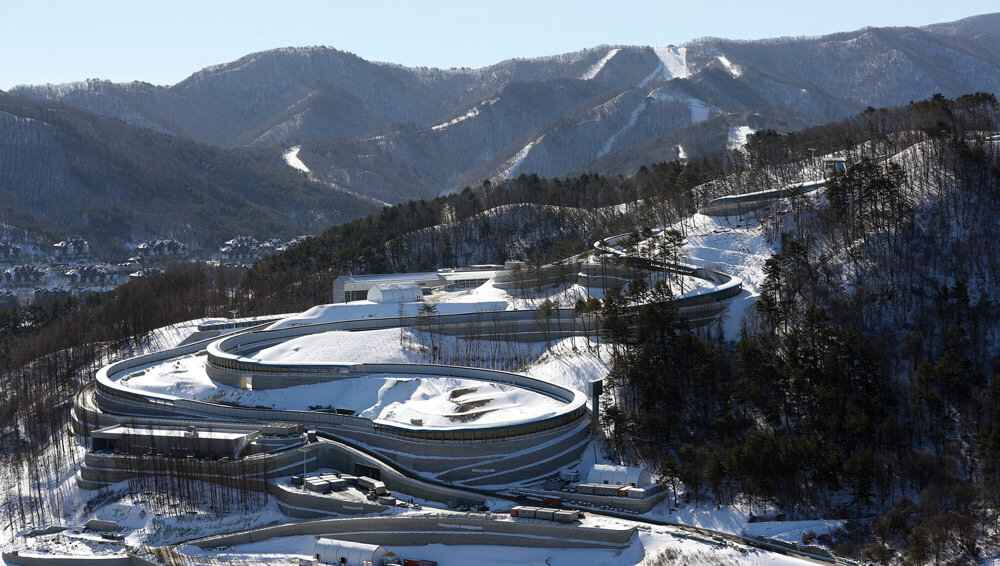 """The Alpensia Sliding Center – nicknamed """"The House of Speed""""– hosted luge, skeleton and bobsleigh events during the 2018 Winter Olympics. It is the first sliding center in Korea and only the second in all of Asia. Korean Culture and Information Service photo by Jeon Han"""
