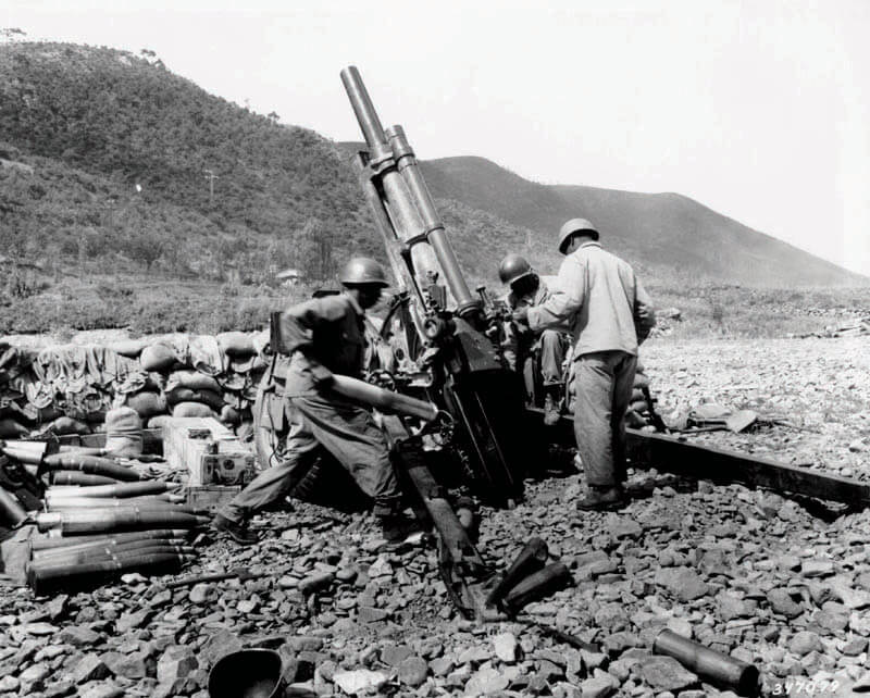 1950 M101 105mm Howitzer — The standard U.S. light field Howitzer in WWII that saw action in both the Korean and Vietnam Wars. Entering production in 1941, it quickly gained a reputation for accuracy and carrying a powerful punch.
