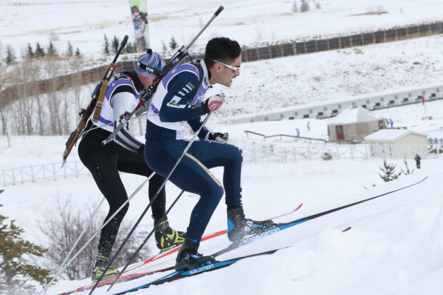 Army National Guard Soldiers compete in the pursuit event of the 2018 Chief National Guard Bureau Biathlon Championships. The competition, which takes place at the Olympic course at Soldier Hollow, Utah, includes 12.5 km of cross-country skiing for men and 10 km for women. Competitors must also engage targets at the precision rifle marksmanship range in the prone and offhand firing positions. U.S. Army photo by SGT Nathaniel Free