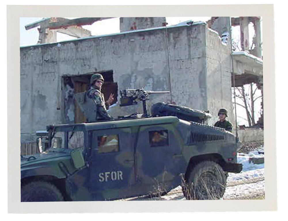 Soldiers of the 45th Infantry Brigade serve in Bosnia in support of NATO forces working to stabilize the region in the year 2000. Photo courtesy Oklahoma Army National Guard
