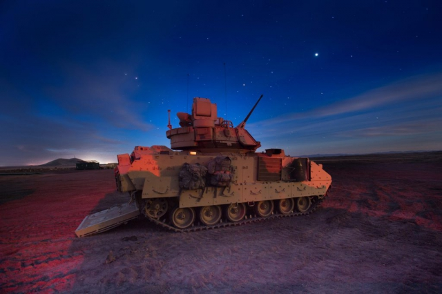 Engineers with the Idaho National Guard's 116th Brigade Engineer Battalion conduct M2A3 Bradley fighting vehicle gunnery qualification on March 27, 2018, at Orchard Combat Training Center, south of Boise, Idaho. Combat engineers with the 116th BEB trained through gunnery table XII, evaluating their ability to execute collective platoon-level tasks in a tactical live-fire environment. Idaho Army National Guard photo by 1LT Robert Barney