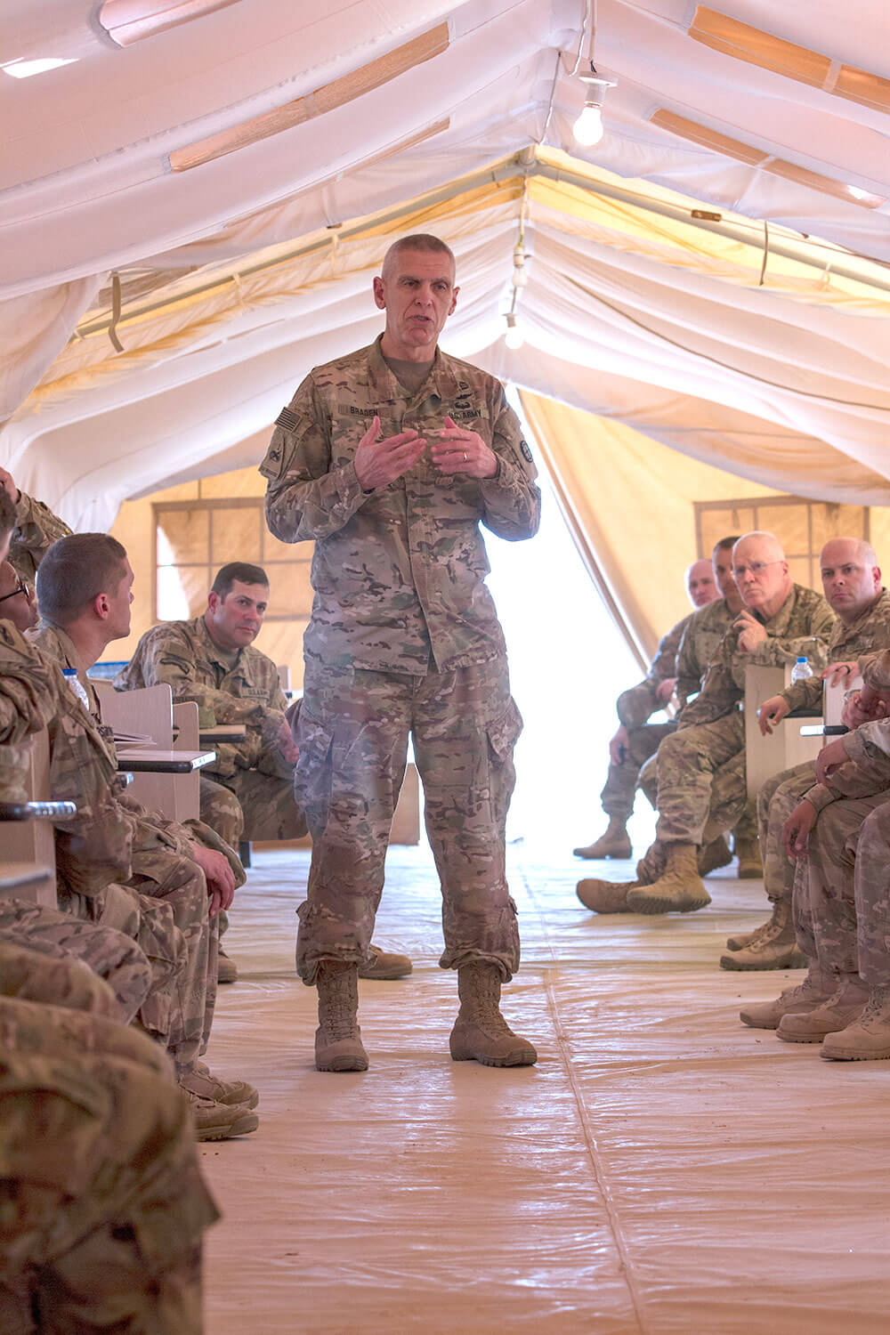 MG Victor J. Braden, commanding general, 35th Infantry Division, briefs Soldiers during Iron Union 18-6 in the United Arab Emirates, Jan. 23, 2018. U.S. Army photo by SGT Thomas X. Crough