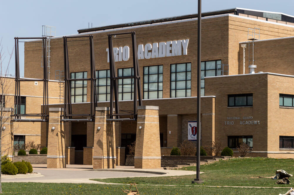 The Trio Academy building, located on the grounds of the Indiana National Guard's Muscatatuck Urban Training Center, is now the main location of the new Muscatatuck Cyber Academy. National Guard Bureau photo by Luke Sohl