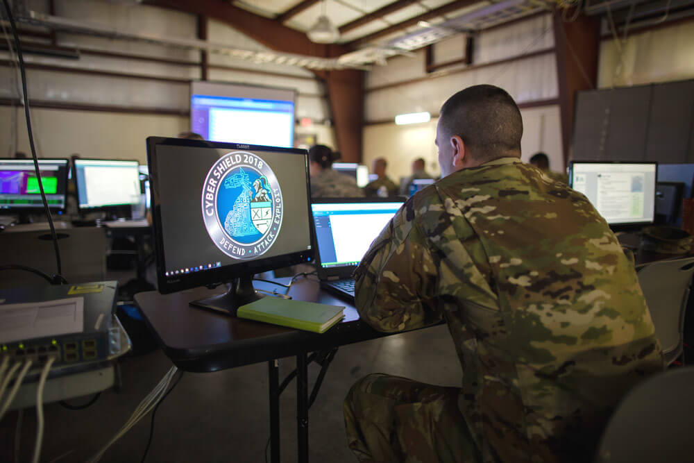 Army National Guard cyber force Soldiers participating in Cyber Shield 18, a cyber defense training exercise held at Camp Atterbury, Ind., May 6-18, 2018. Indiana Army National Guard photo by SSG Jeremiah Runser