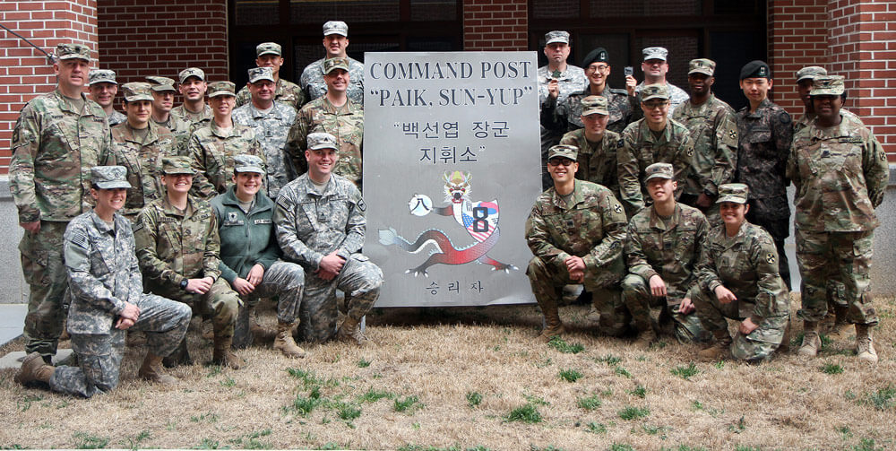 Soldiers from the 129th Mobile Public Affairs Detachment, South Dakota Army National Guard, and the U.S. Eighth Army pose for a photo with soldiers of the Republic of Korea's armed forces during the Key Resolve training exercise at Camp Humphreys, South Korea, March 22, 2017. Army National Guard photo by SPC Carl A. Johnson