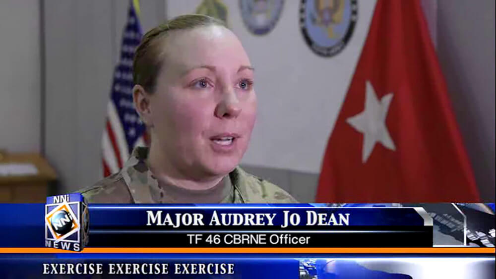As part of Vibrant Response 2018, Soldiers of the 46th Military Police Command, Michigan Army National Guard, participated in fictional local news interviews while training to interact with the media and relay vital information to the community at large. Image courtesy Michigan Army National Guard