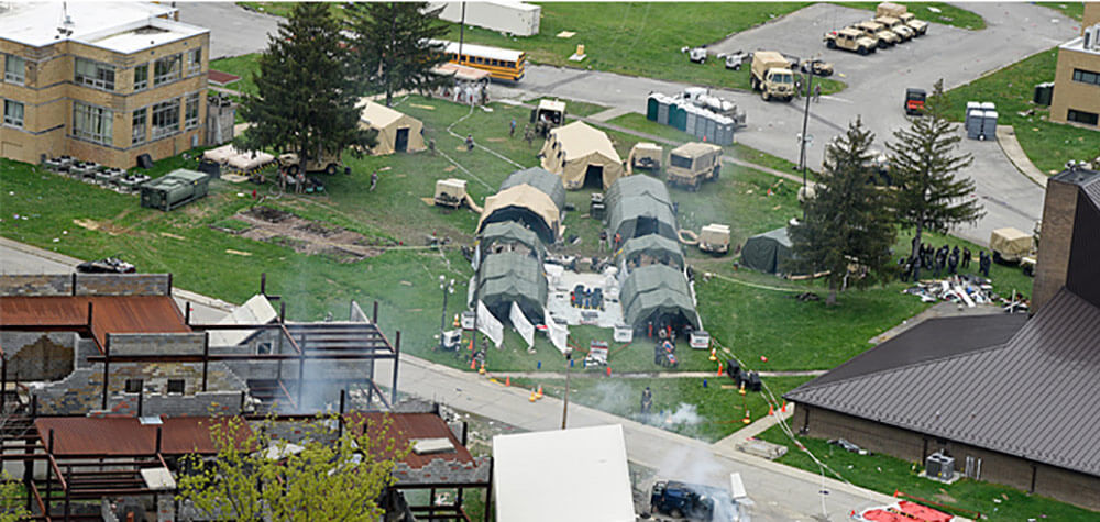 An aerial view of the Muscatatuck Urban Training Center during emergency response training. Photo courtesy Indiana National Guard