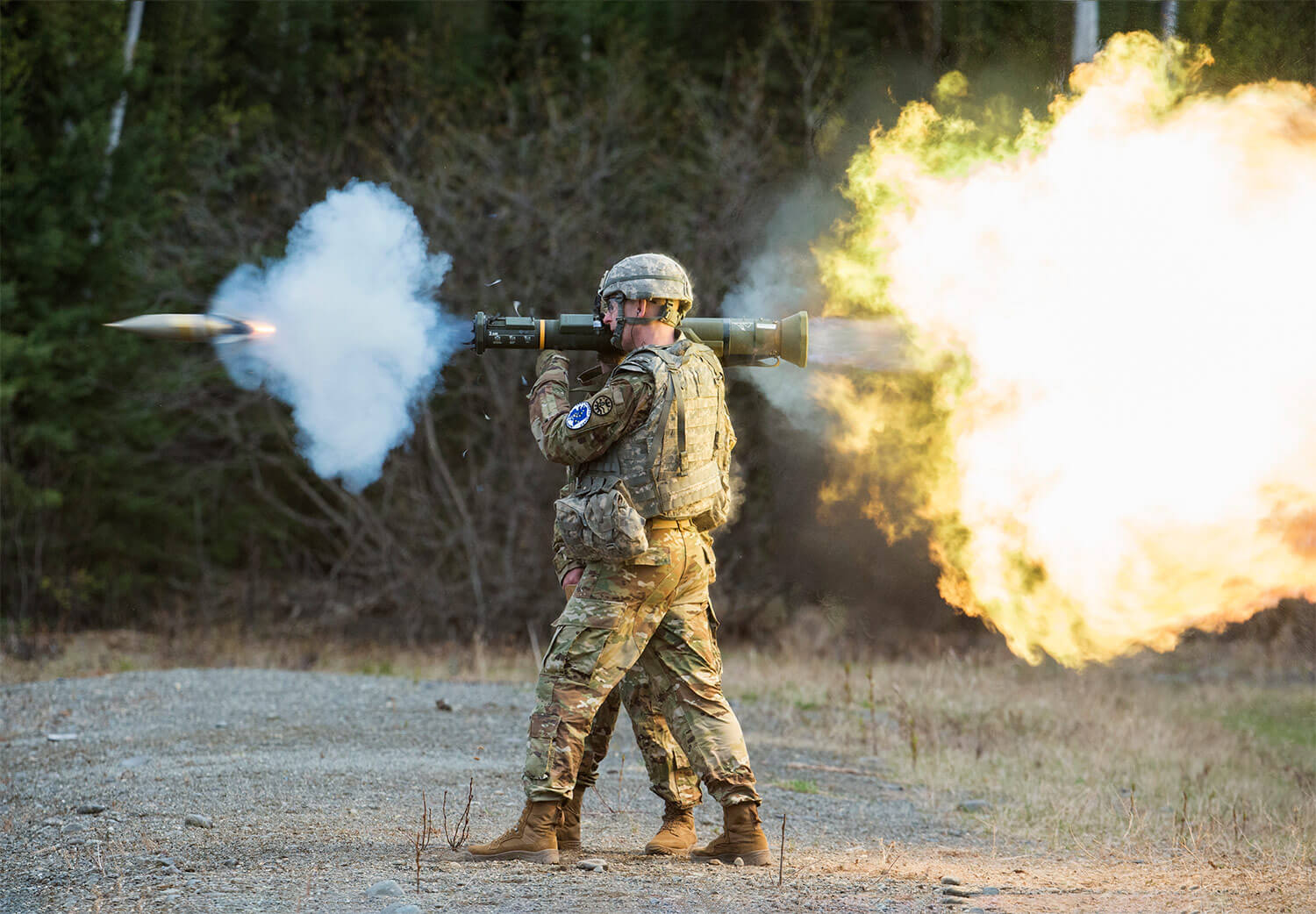SGT Jay Utter, assigned to the Montana Army National Guard, fires an M136E1 AT4-CS confined light anti-armor weapon while competing in the National Guard Best Warrior Region VI 2018 competition at Joint Base Elmendorf-Richardson, Alaska, this past May. National Guard Best Warrior Region VI 2018 is a four-day competition that tests Soldiers' mental and physical toughness through a series of events designed to push technical and tactical proficiency. The region's top non-commissioned officer and junior enlisted Soldier are selected through the competition. Alaska National Guard photo by Alejandro Peña