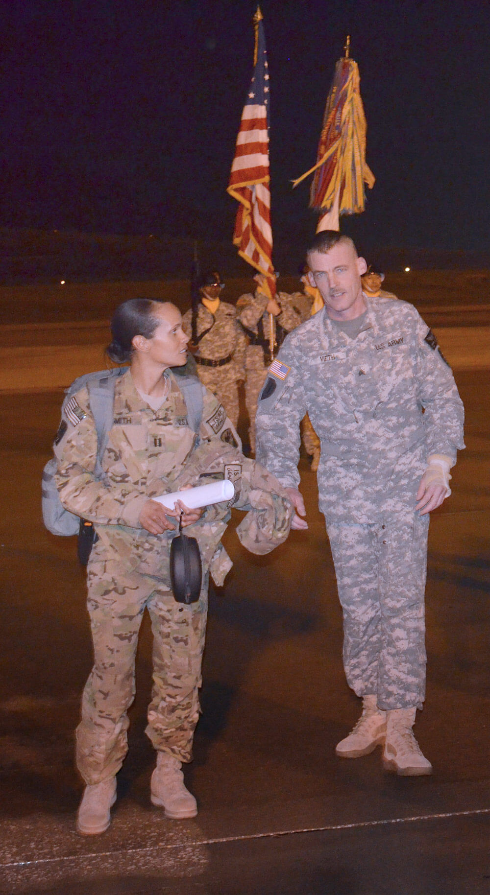 Then-SGT Albert Vieth meets CPT Nicole Washington at Fort Hood, Texas upon his return to the States after being shot in the arm during a 2012 deployment to Afghanistan. Photo courtesy Idaho Army National Guard