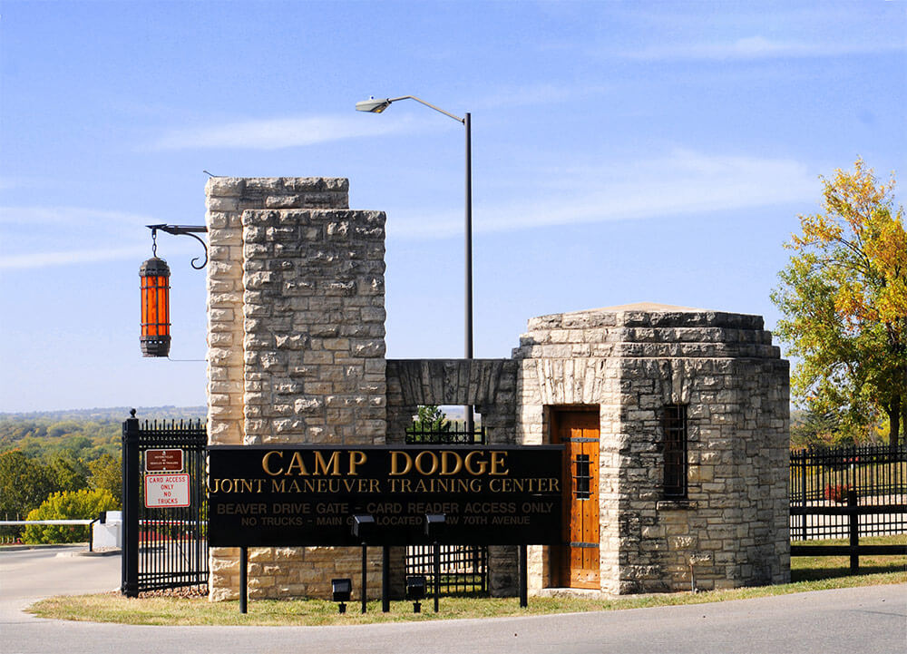 Camp Dodge entrance gate. Photo courtesy Iowa Army National Guard