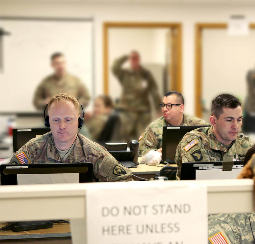 Members of the 1034th Combat Sustainment Support Battalion, Iowa Army National Guard, perform command duties as part of a Mission Training Exercise at Camp Dodge Joint Maneuver Training Center at Johnston, Iowa, March 2018. Iowa Army National Guard photo by SGT Tawny Schmit
