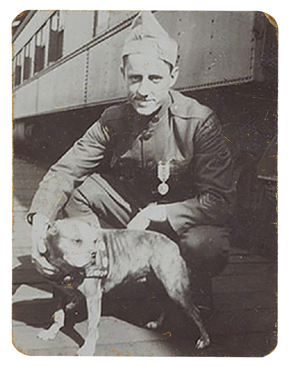 PVT Robert Conroy and SGT Stubby. Photo courtesy National Museum of America, History Division of Armed Forces