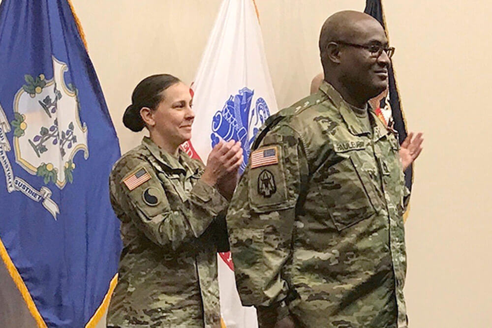 WO1 Roberto Pauleus at his Warrant Officer Commissioning Ceremony at the Regional Training Institute, Camp Niantic, Conn. Connecticut Army National Guard photo by MAJ Michael Petersen