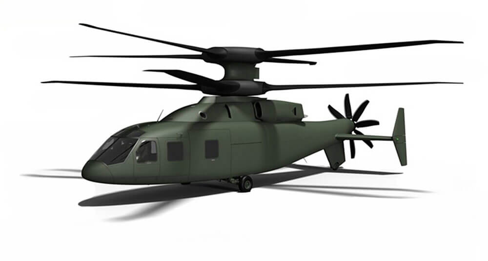 Sikorsky Defiant Features: • X2TM Technology • Advanced Drive System • Active Vibration Control • Advanced Rigid Rotor System • Manual Blade Fold • Pusher Prop with Clutch • Lift Offset Co-Axial Rotor • Active Rudders and Elevators • Retractable Gear • Fly-by-Wire Flight Controls • Cabin for 12 Combat Troops • Crew of Four Image courtesy Sikorsky Aircraft
