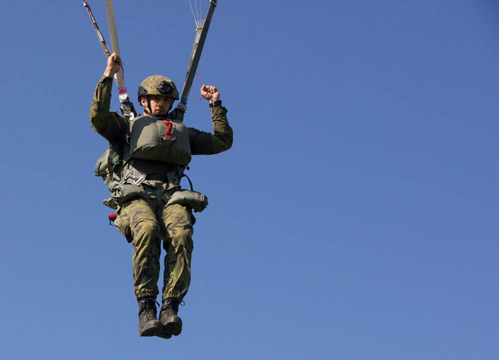 A Czech Paratrooper descends on the Castle Drop Zone as his team competes in Leapfest 2018, held August of last year in West Kingston, R.I. U.S. Army photo by SSG Austin Berner
