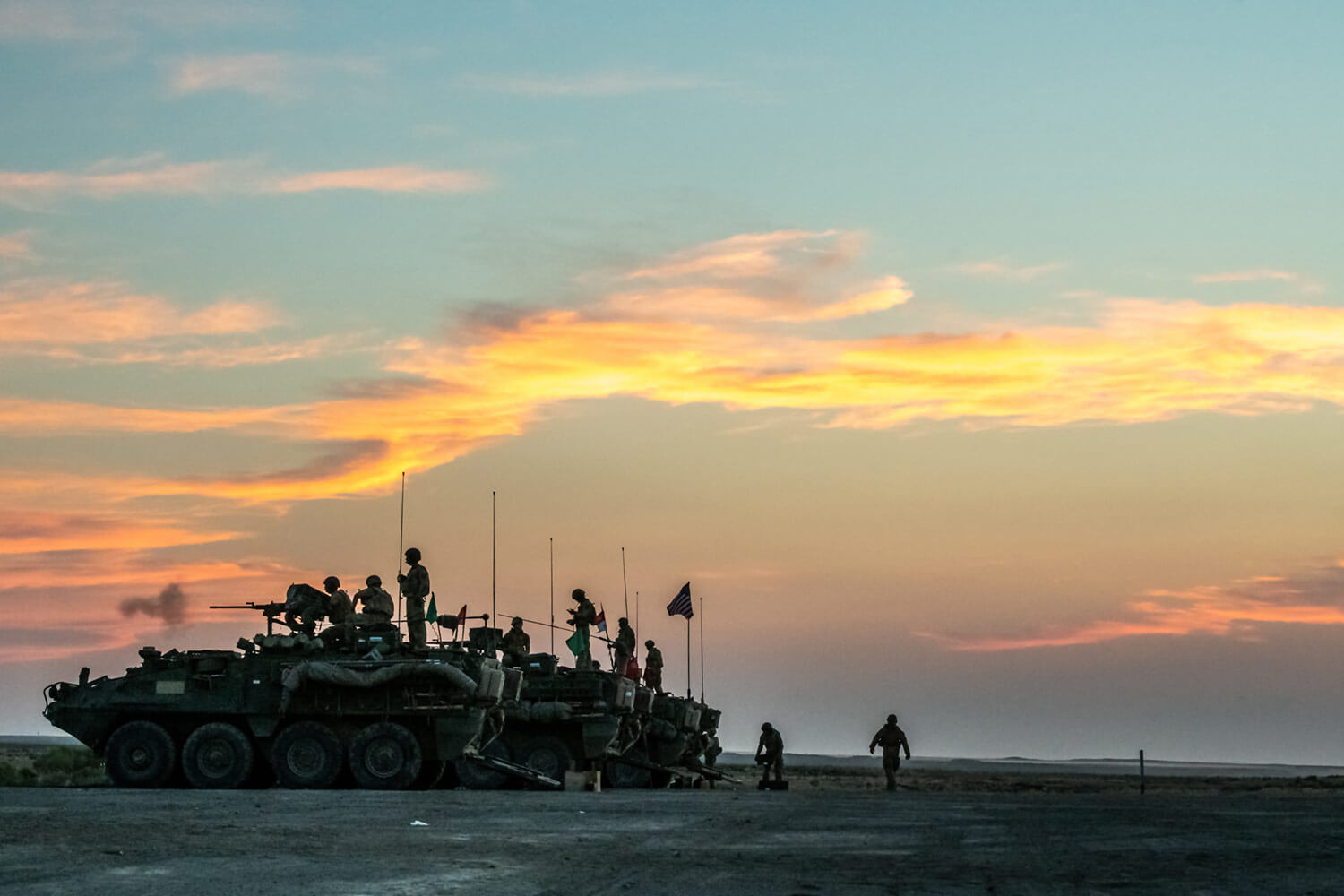 Oregon Army National Guard Soldiers with 1st Squadron, 82nd Cavalry Regiment, conduct live-fire exercises late into the evening during their 2018 annual training (AT) at Orchard Combat Training Center near Boise, Idaho. The 2018 AT rotation marked the first time the 1-82nd Cavalry Regiment held a full series of live-fire qualifications using their new Stryker vehicles, which the unit received less than two years ago. Oregon Army National Guard photo by SSG Zachary Holden