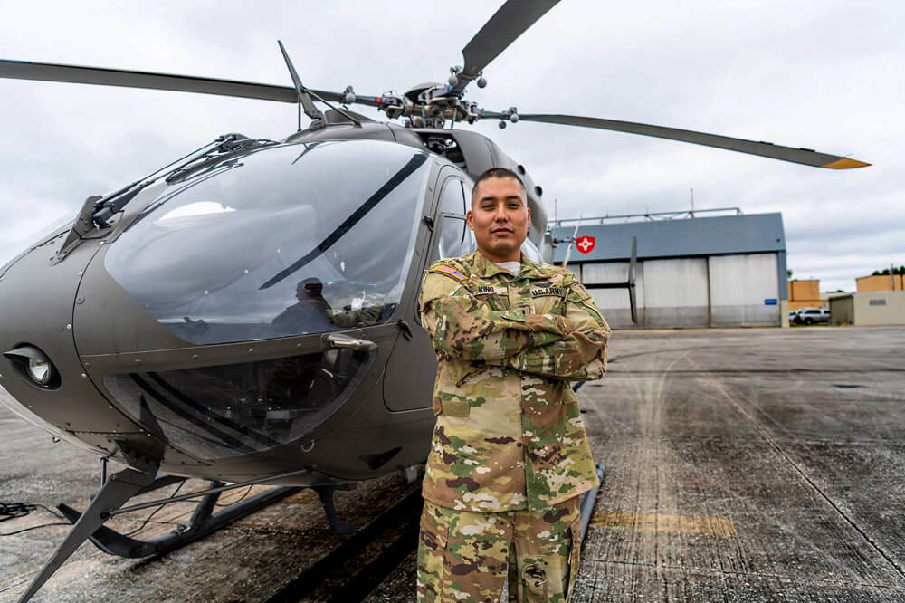 CPT Kevin King, UH-72 Lakota helicopter pilot and member of the Lakota Native American tribe.
