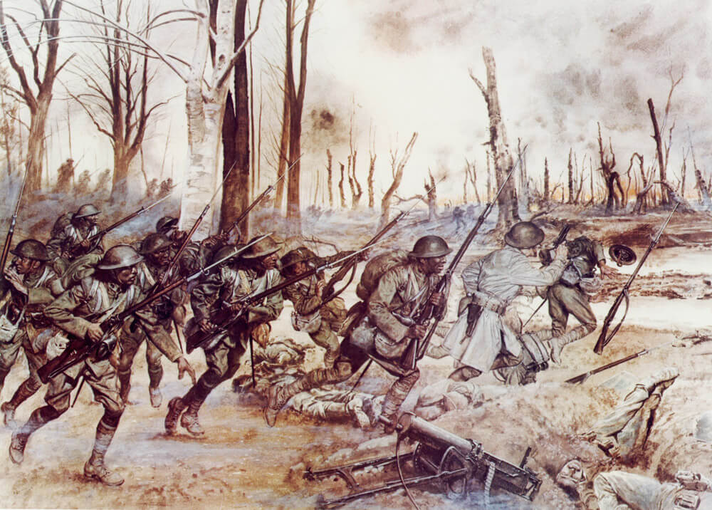 """Soldiers of the """"Harlem Hellfighters,"""" 369th Infantry Regiment, New York Army National Guard, are depicted in a WWI battle scene as they advance on the battlefield during the Meuse-Argonne offensive in Sechault, France, Sept. 29, 1918."""
