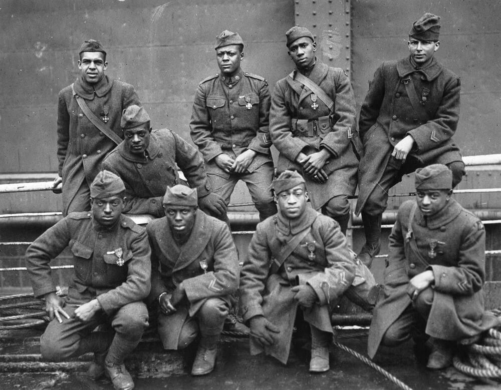 Soldiers of the 369th Infantry Regiment pose for a photo. The 369th served on the front lines for 191 days during World War I, longer than any other American unit. Photo courtesy National Archives