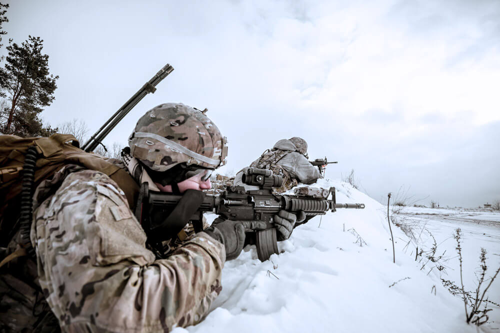 A Soldier from Tennessee Army National Guard's 278th Task Force Raider assigned to Battle Group Poland participates in Operation Raider Thunder, a company team-level live-fire exercise, while deployed in support of NATO's Enhanced Forward Presence. Tennessee Army National Guard photo by SGT Arturo Guzman