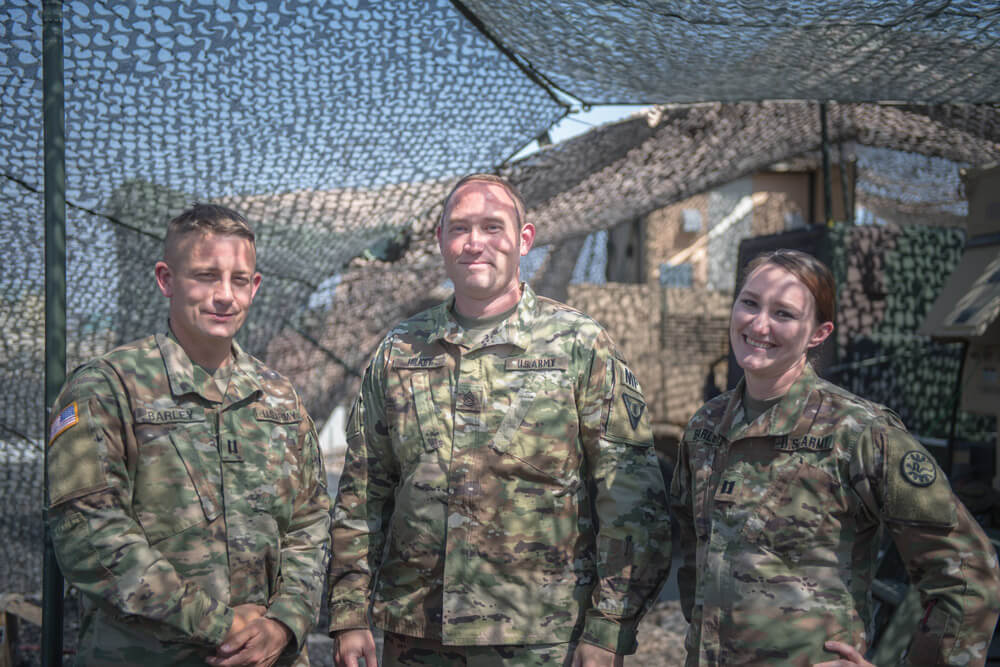 FROM LEFT: Pictured on duty for the Idaho Army National Guard are CPT Mike Barley, SFC Nathan Hilkey and CPT Haily Barley.