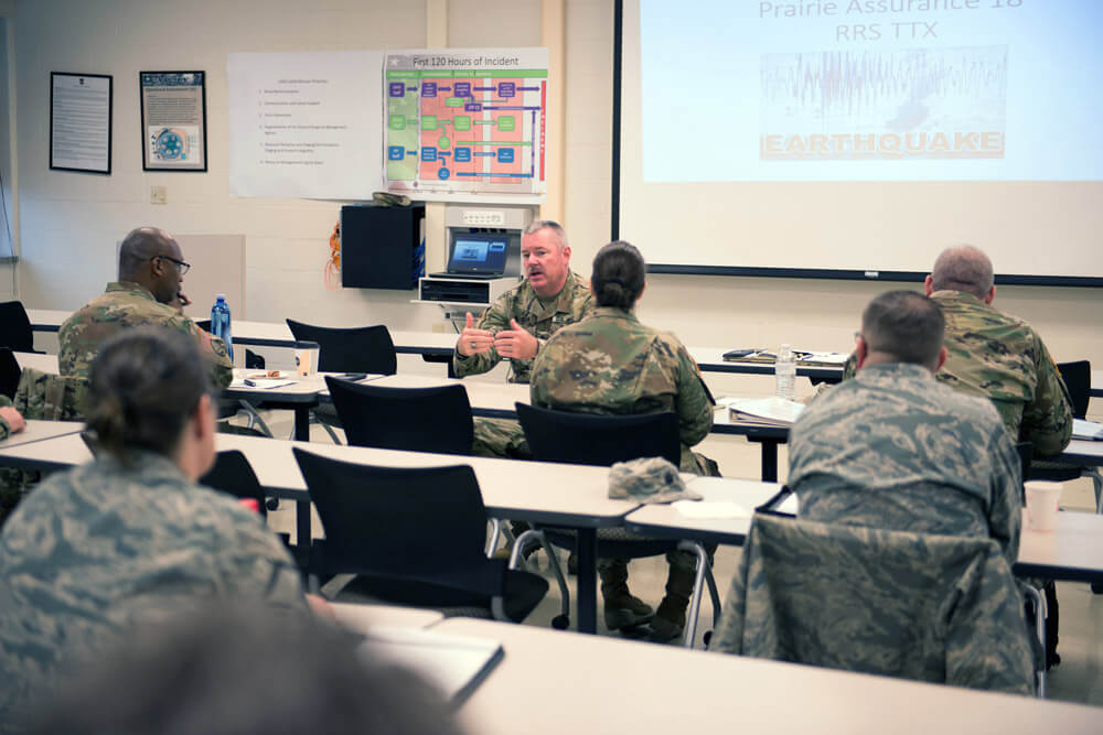 Illinois National Guard Director of the Joint Staff BG Michael Glisson addresses Illinois National Guard staff directors during the table-top exercise portion of Prairie Assurance. Illinois Army National Guard photo by SFC Bryan Spreitzer