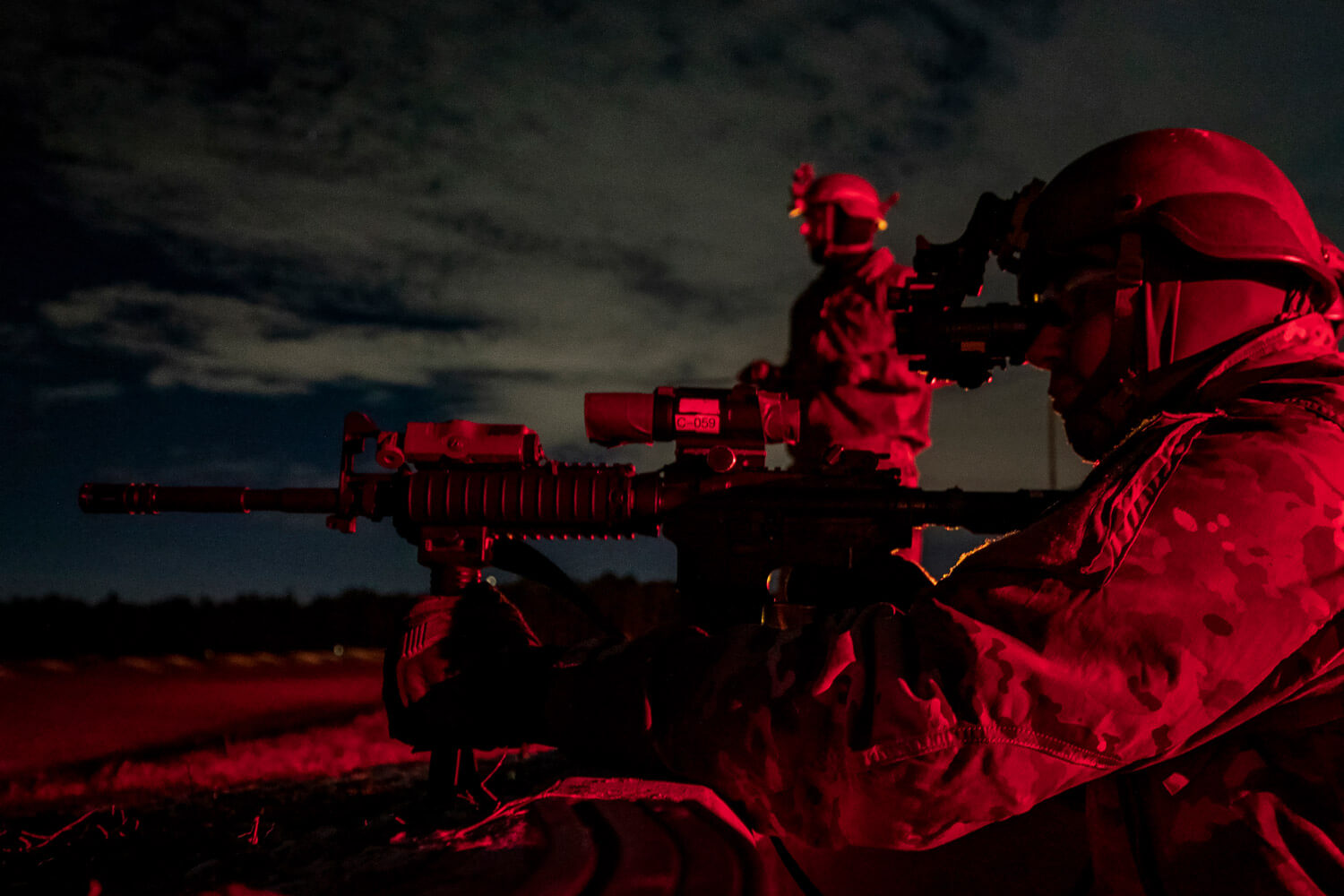 Army National Guard Soldiers with New Jersey's C Troop, 1st Squadron, 102nd Cavalry Regiment, prepare for night shooting during weapons qualifications on Joint Base McGuire-Dix-Lakehurst, N.J., January 2019. The qualifications were held in advance of the troop's deployment to North Africa in support of Combined Joint Task Force - Horn of Africa. New Jersey National Guard photo by MSgt Matt Hecht