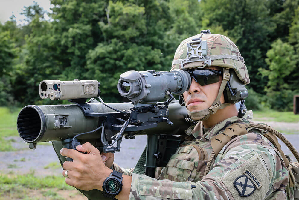 A Soldier of the 2nd Battalion, 22nd Infantry Regiment, tests a new integrated thermal weapons sight as an enhanced targeting system for the Carl Gustaf Recoilless Rifle, at Fort Drum, N.Y. Photo courtesy PEO Soldier