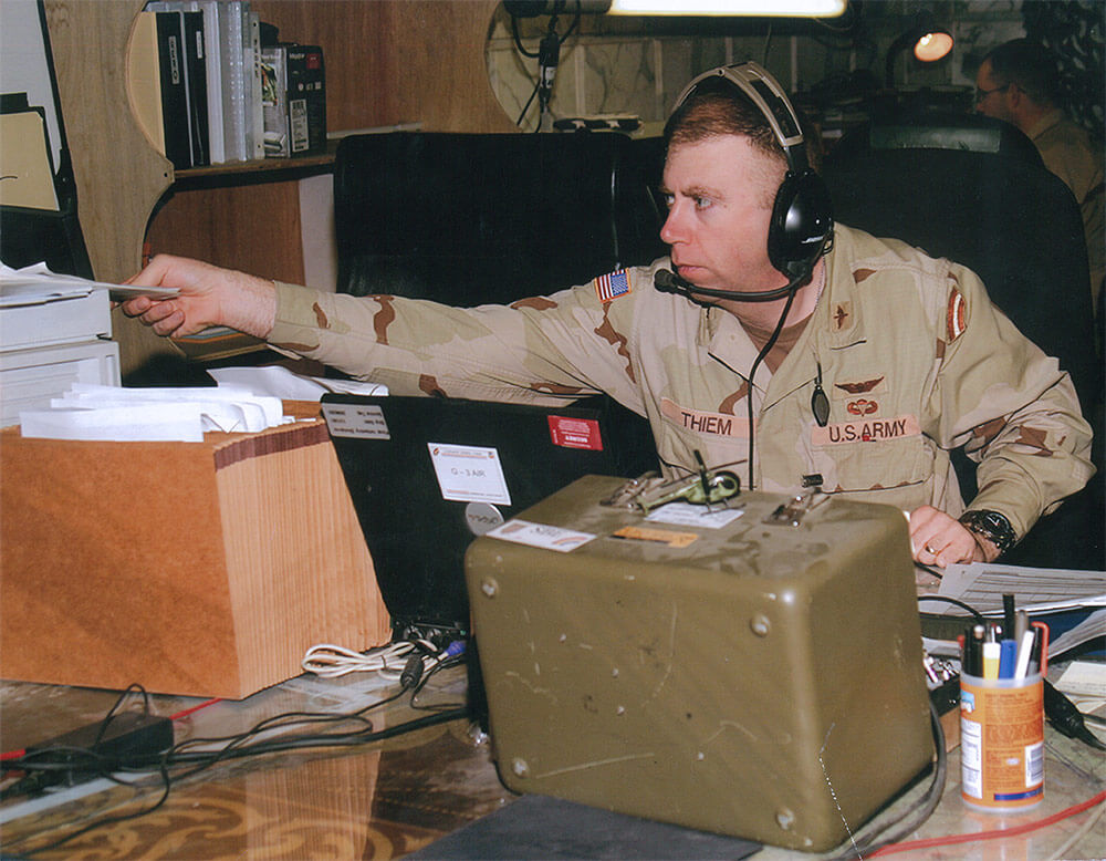 Then-MAJ Albert Thiem shown during a 2005 deployment to Tikrit, Iraq, serving as G3-Air. Photo courtesy CW3 Albert Thiem