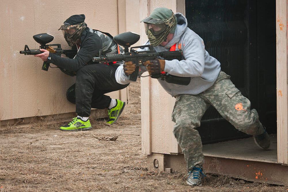 Soldiers with Headquarters and Headquarters Troop, 2nd Squadron, 3rd Cavalry Regiment, play paintball during an event with the Fort Hood Warrior Adventure Quest program, January 2014. U.S. Army photo by SGT Ken Scar