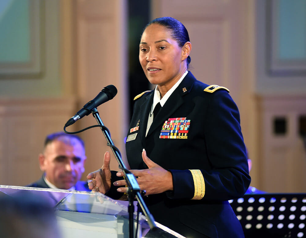 MG Linda Singh, adjutant general of the Maryland National Guard, speaks at an event in Sarajevo, Bosnia, Nov. 27, 2018, commemorating the 15-year partnership between Maryland and Bosnia in the National Guard State Partnership Program. National Guard Bureau photo by SFC Jon Soucy
