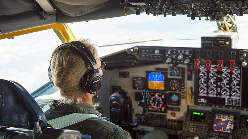 Then-Col April Vogel pilots a KC-135 Stratotanker aircraft over the skies of MacDill Air Force Base, Fla., during her final flight in May 2018, before relinquishing command of the 6th Air Mobility Wing and becoming Maryland's assistant adjutant general for Air. U.S. Air Force photo by A1C Caleb Nunez