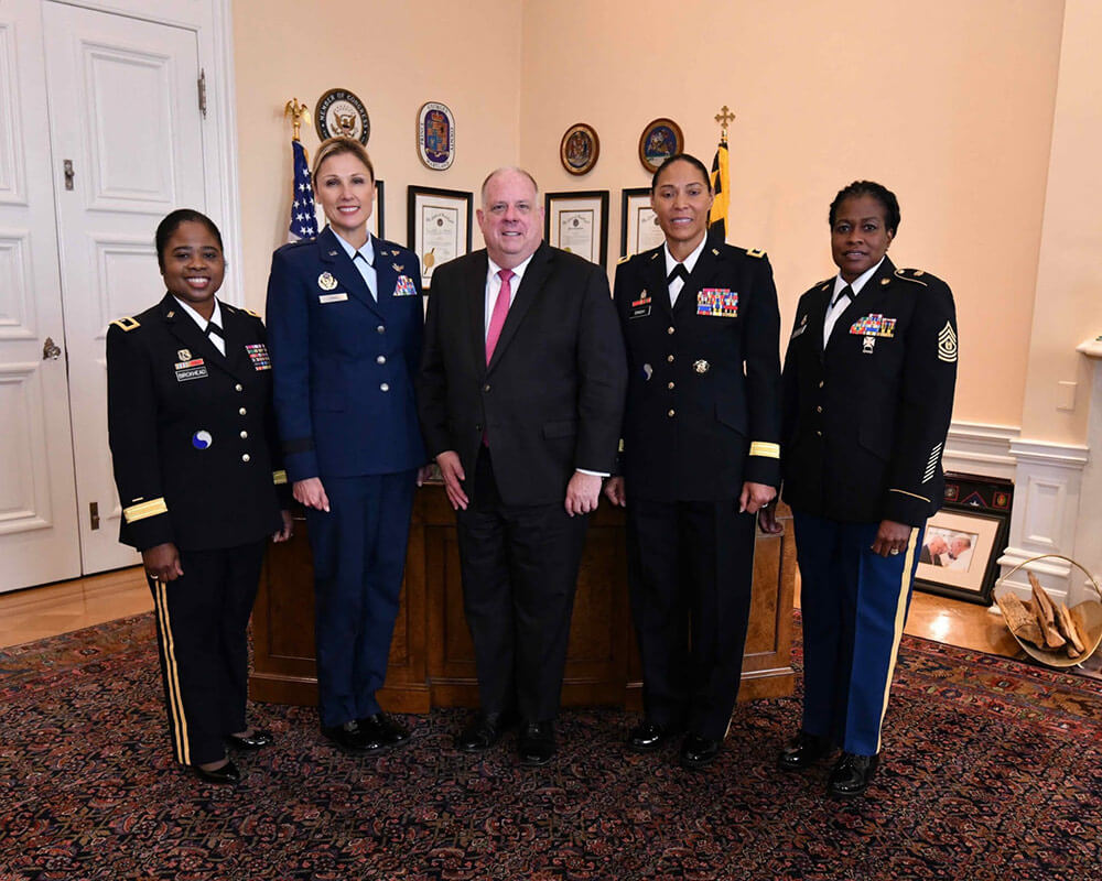 Left to Right: BG Janeen Birckhead, Brig Gen April Vogel, Governor Larry Hogan, MG Linda Singh, CSM Perlisa Wilson. Photo courtesy Fox News