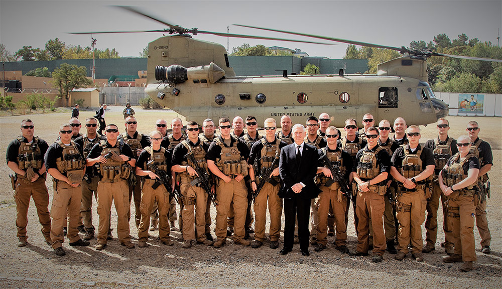 The 191st Military Police Company (Forward) shown with then-Secretary of Defense, GEN James Mattis for whom the 191st provided protective service during a visit to Kabul, Afghanistan. Photo courtesy North Dakota Army National Guard