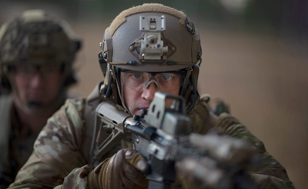 A Soldier of 2nd Battalion, 20th Special Forces Group (Airborne) participates in live-fire training at the Camp Shelby Shoot House as part of Southern Strike 2019, a large-scale, joint-force, multicomponent, multilateral combat exercise emphasizing tactical level air-to-air, air-to-ground and special operations forces training. New York National Guard photo by SSgt Christopher S. Muncy