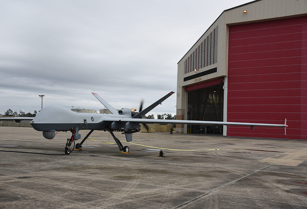 A 119th Wing MQ-9 Reaper unmanned aircraft, shown on the flight line at the Gulfport Combat Readiness Training Center, Miss., is used in 2019 for the first time as part of Exercise Southern Strike. North Dakota National Guard photo by CMSgt David H. Lipp