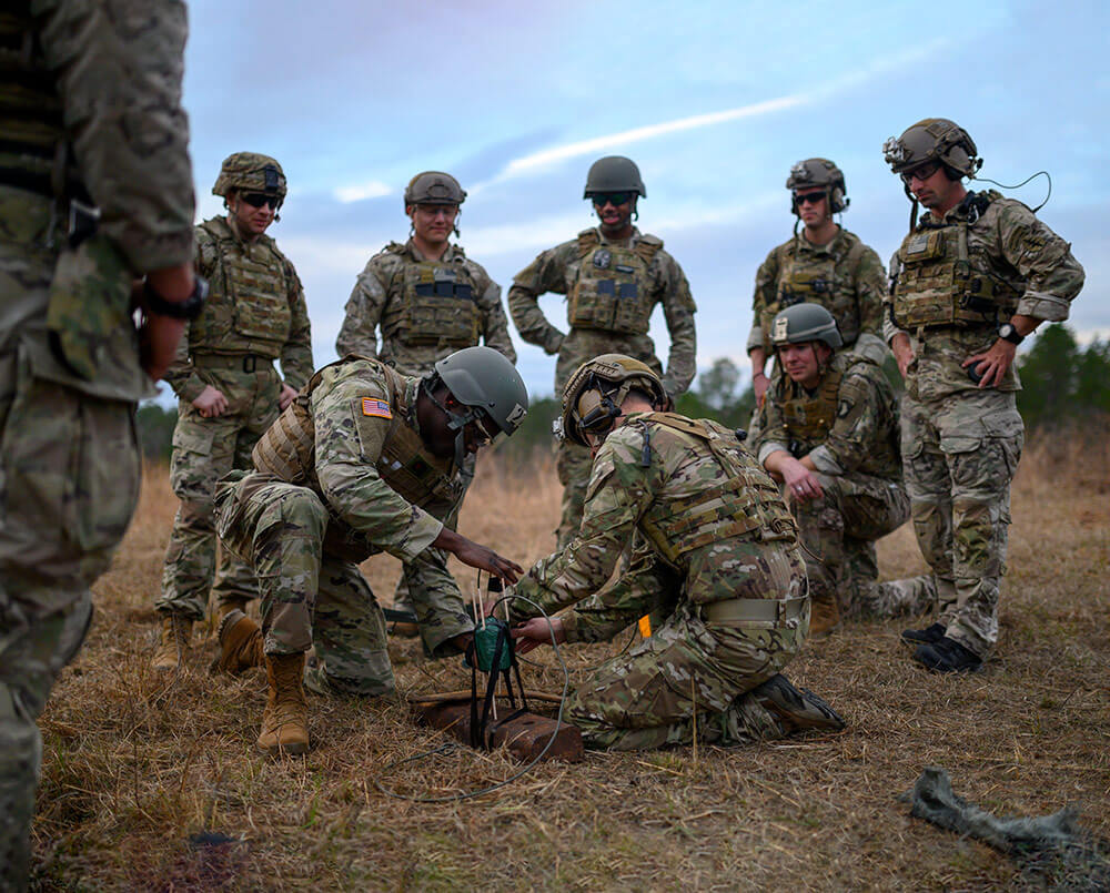 Soldiers of C Company, 2nd Battalion, 20th Special Forces Group (Airborne), conduct demo and explosive training on the range at Camp Shelby in Hattiesburg, Miss., January 2019, as part of Southern Strike 2019. New York National Guard photo by SSgt Christopher S. Muncy
