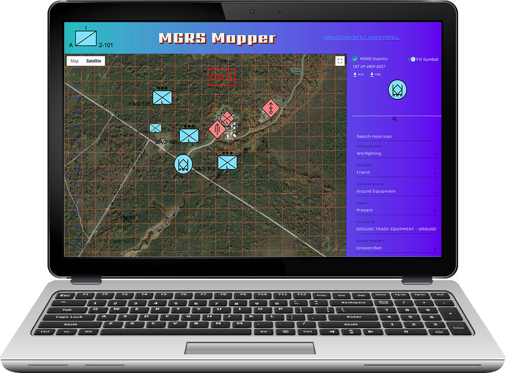 Image of the MGRS-Mapper mapping software application. New York National Guard photo by Eric Durr