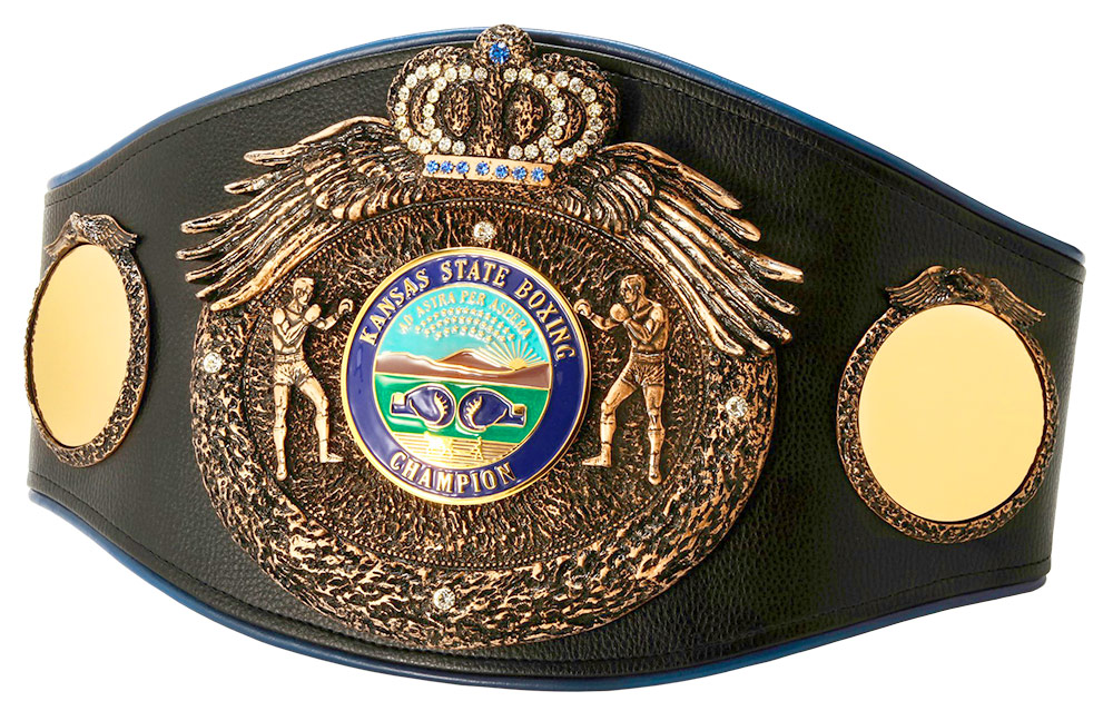 The Kansas State Championship Belt, awarded to SPC Efrain Morales as Kansas State Junior Middleweight Championship in November 2014. Photo courtesy SARTONK